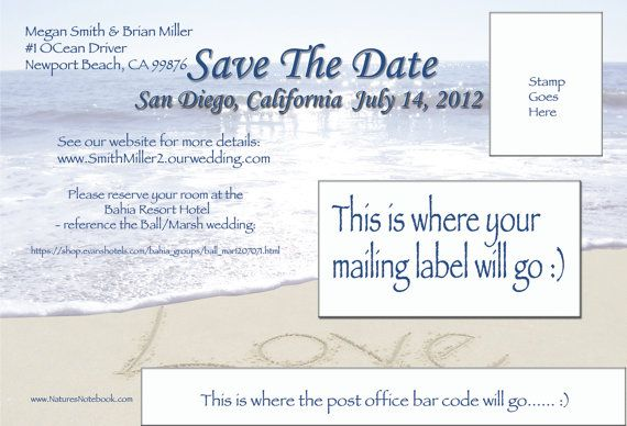 Save The Date Wedding Beach Postcards by writinginthesand on Etsy, $112.00