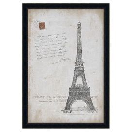 "Inspired by a Parisian postcard, this framed wall art brings worldly appeal home. Made in the USA.       Product: Framed print    Construction Material: Wood, glass and paper   Color: Black frame       Dimensions: 33"" H x 23"" W x 1.5"" D"