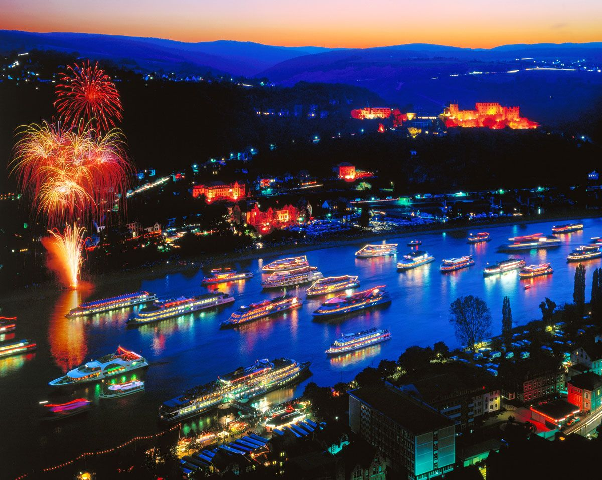 Koblenz, Rhein on Fire Rhein in flammen, Rhein in