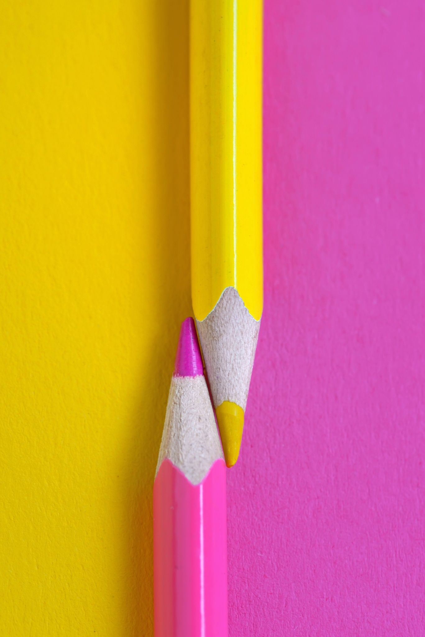 Yellow And Pink Crayons Pink Crayon Paper Background Minimalist Photography