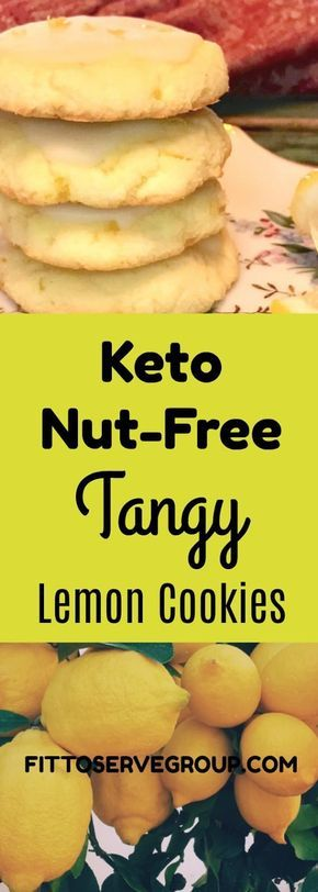 A Recipe For Low Carb Keto Nut-Free Tangy Lemon Cookies made with coconut flour #ketocookierecipes