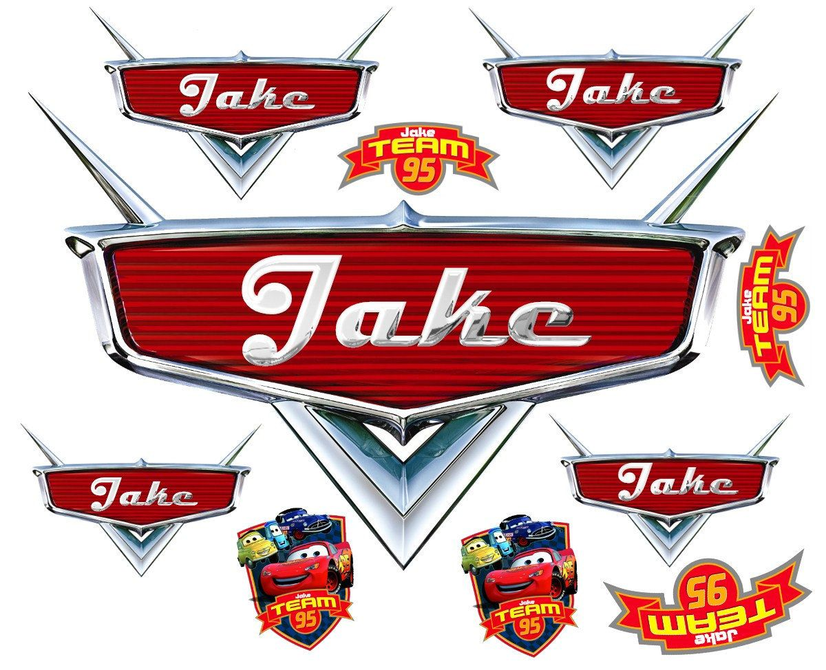Personalized disney cars emblem wall decals and stickers with childs name 10 stickers 24 99 via etsy