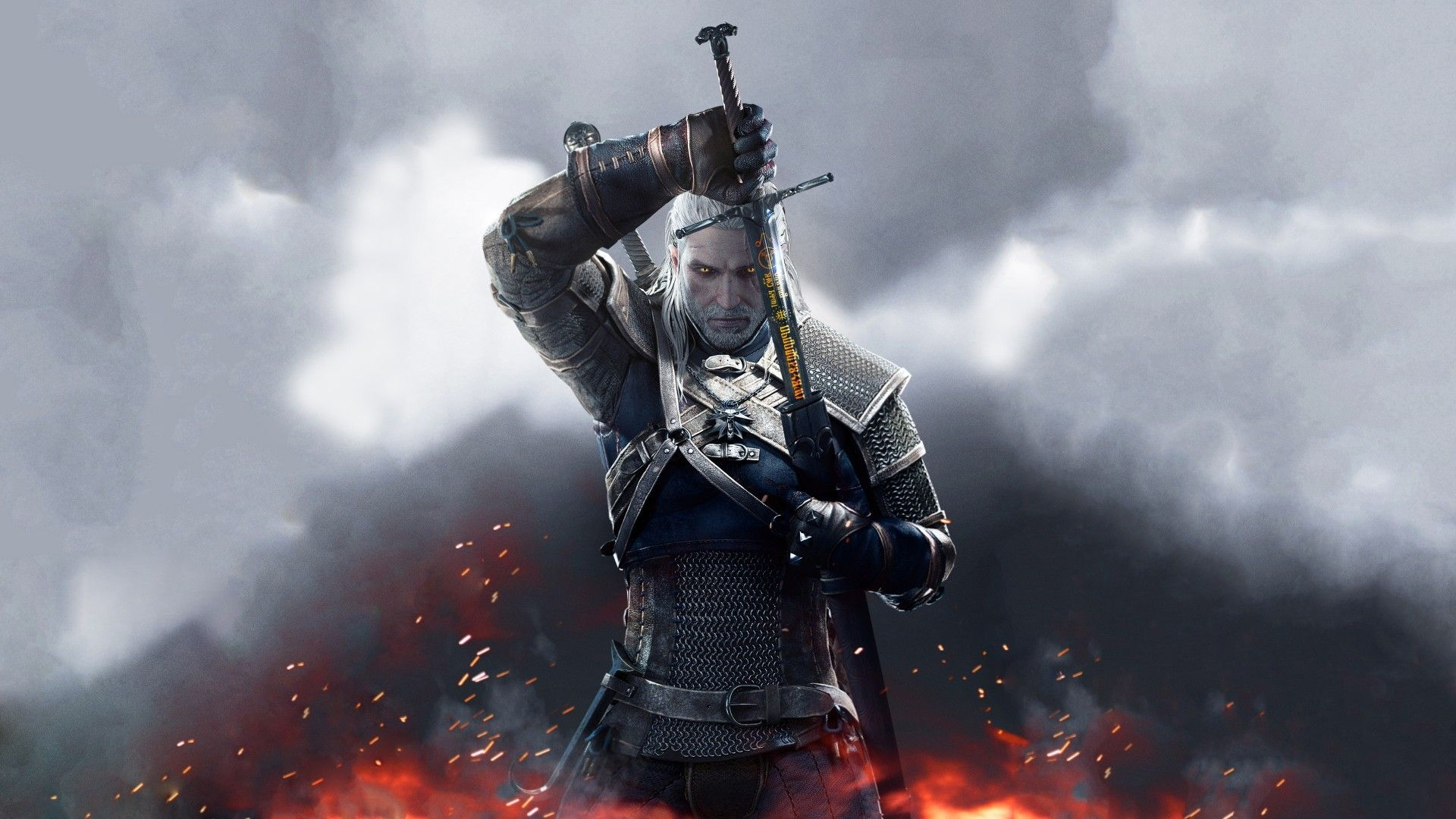 Wallpaper the witcher 3 wild hunt sword runes geralt