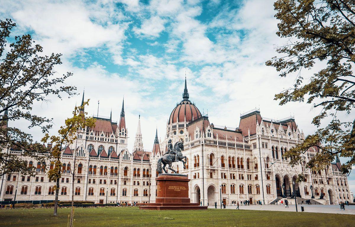 Hungarian Parliament Building Exterior Budapest Sky