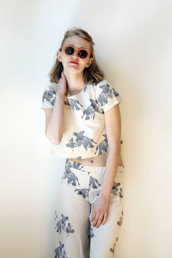 #Lucky #Goldfish Twins Print. Wide-Leg Pants and #cropped Top. 100% #IrishLinen #HappySpring #snoozerloserss14