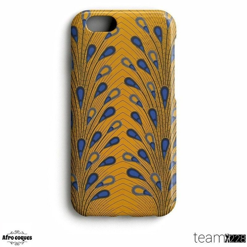 Afrocoques loincloth WAX - African fabric - blue flowers / yellow background II - for iPhone and Samsung Galaxy