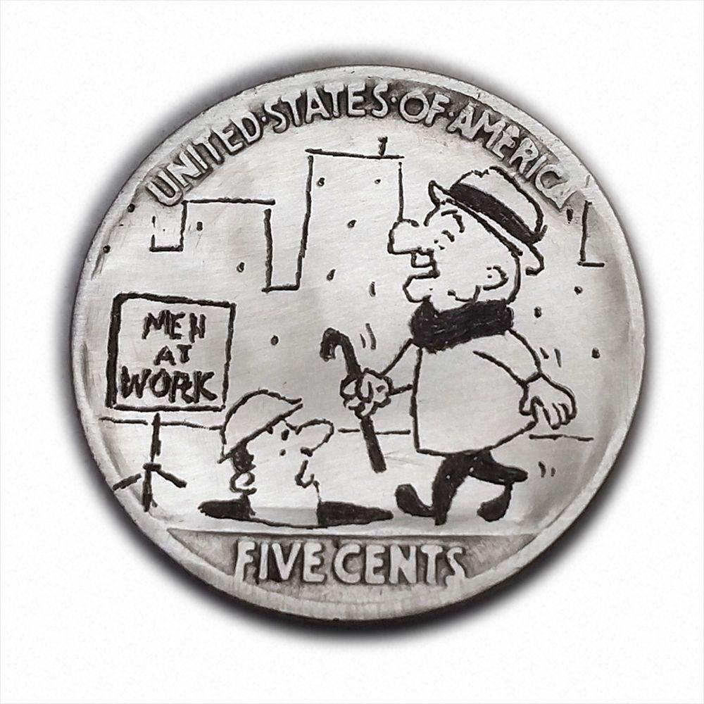 Mr Magoo #294 Hand Engraved  Hobo Nickel  by Luis A Ortiz # RM1398