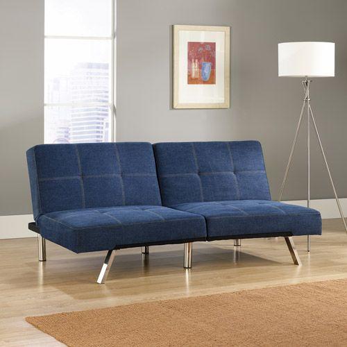 Sauder Studio Edge Cooper Convertible Sofa Futon Denim Blue