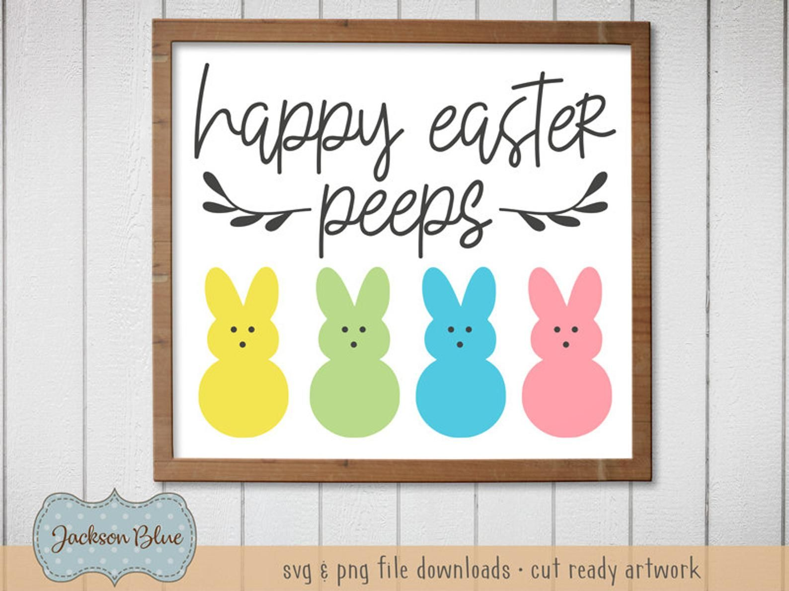 Happy Easter Peeps svg. Easter Bunny svg Clipart. Rustic