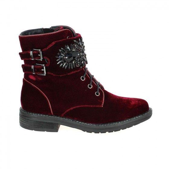 Boots lacets velours bordeaux ALMA EN PENA ALMA Bessec