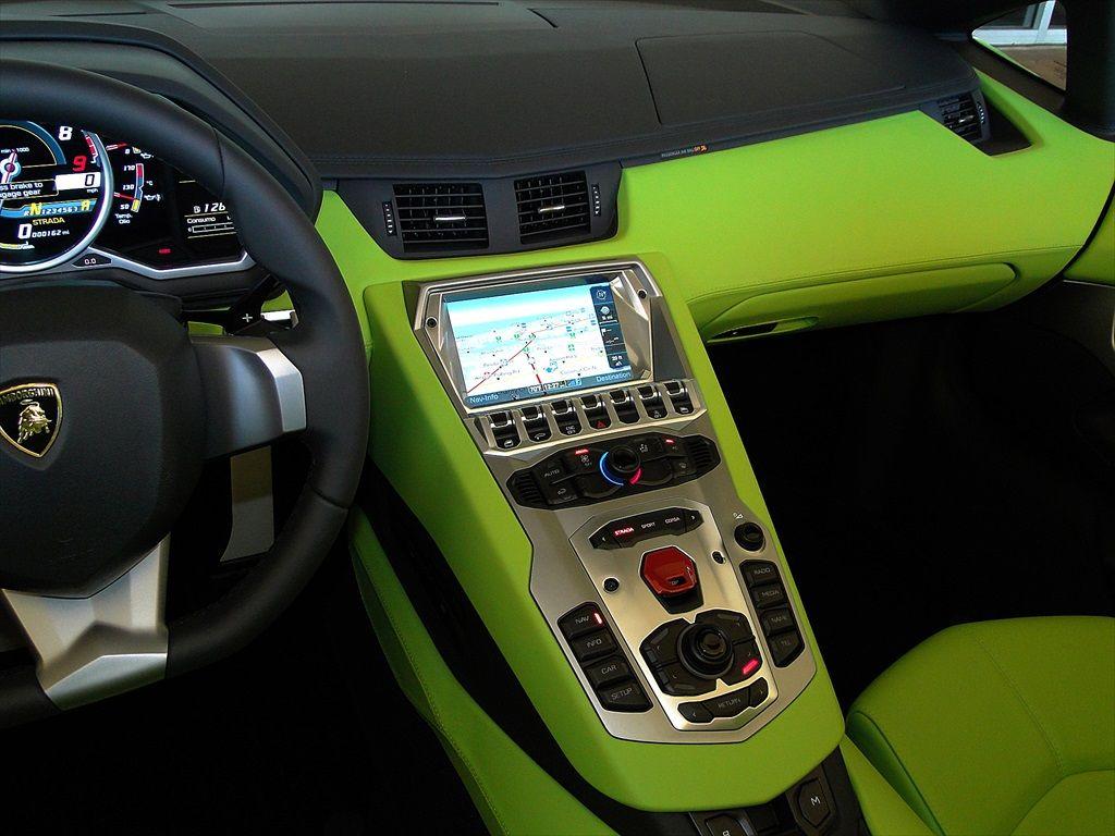 Lime green lamborghini aventador interior for Bright green interiors