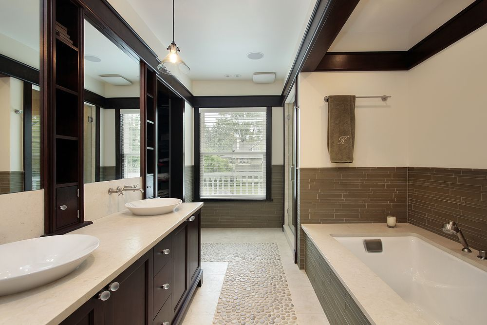 Luxury Modern Master Bathrooms modern master bathroom with salerno porcelain tile - raw silk