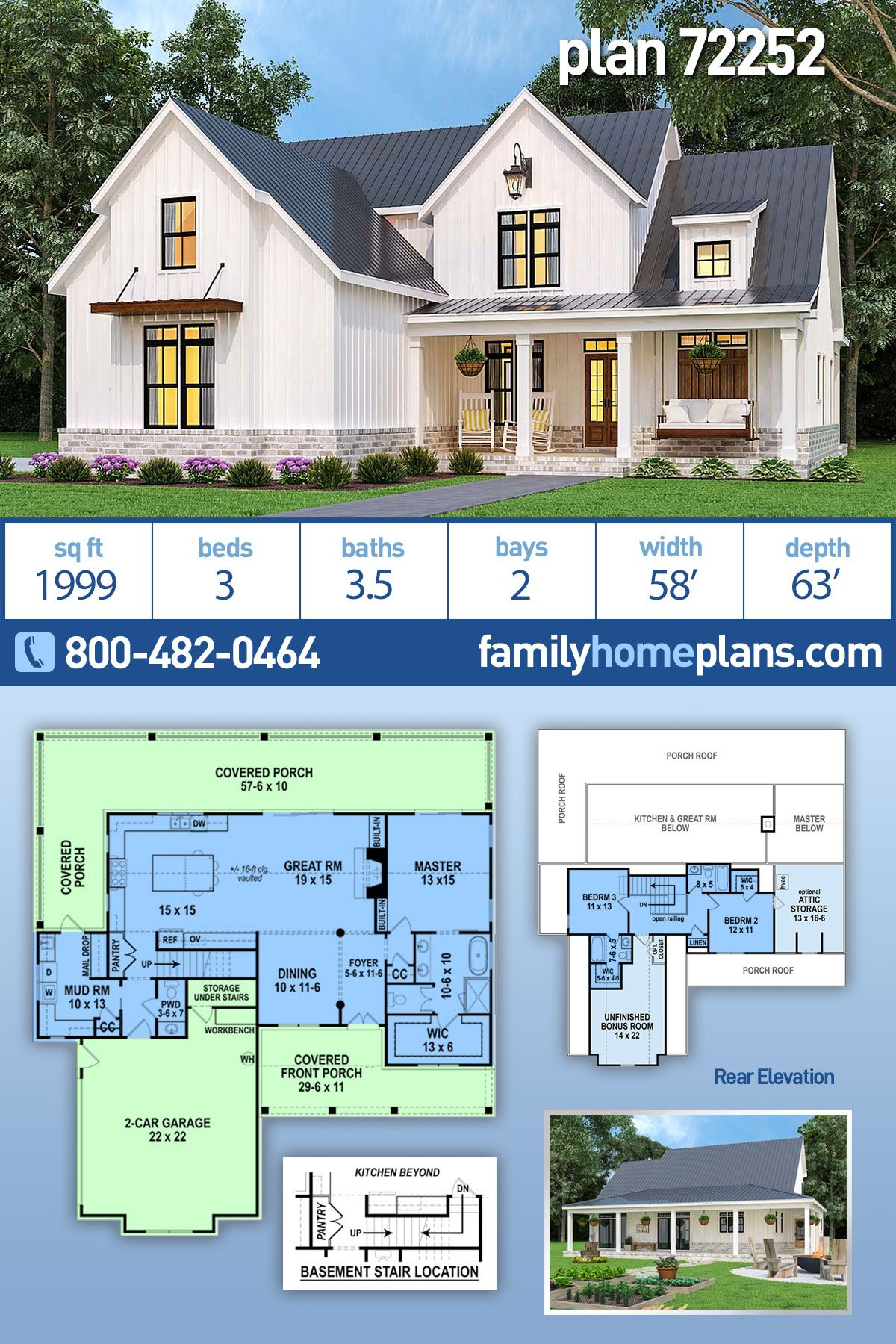 Southern Style House Plan 72252 With 3 Bed 4 Bath 2 Car Garage Modern Farmhouse Plans Farmhouse Floor Plans Family House Plans