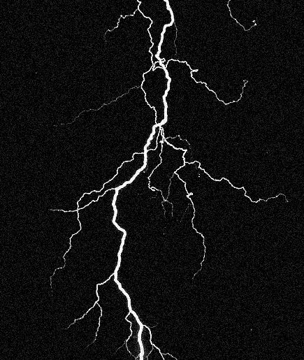 Lightning strike on black background