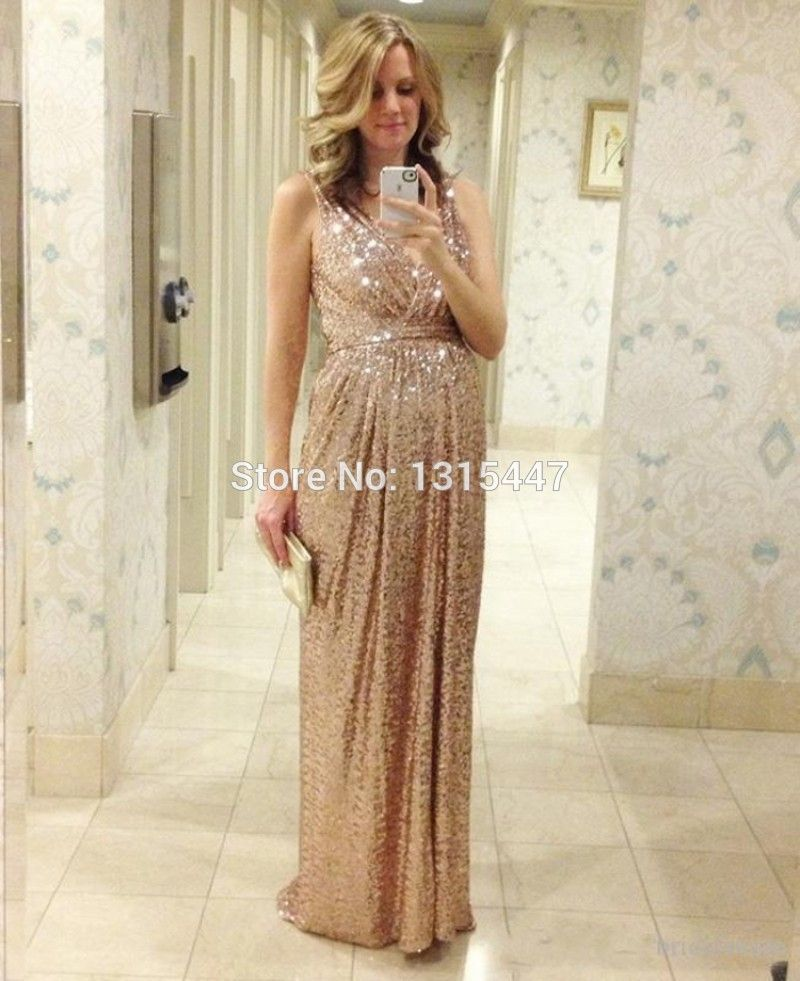 2f46d47ddbb Sparkly Sequined Formal Maternity Evening Dresses 2015 Hot Sale Empire  Waist Elegant Champagne Prom Long Dresses With V Neckline-in Evening Dresses  from ...