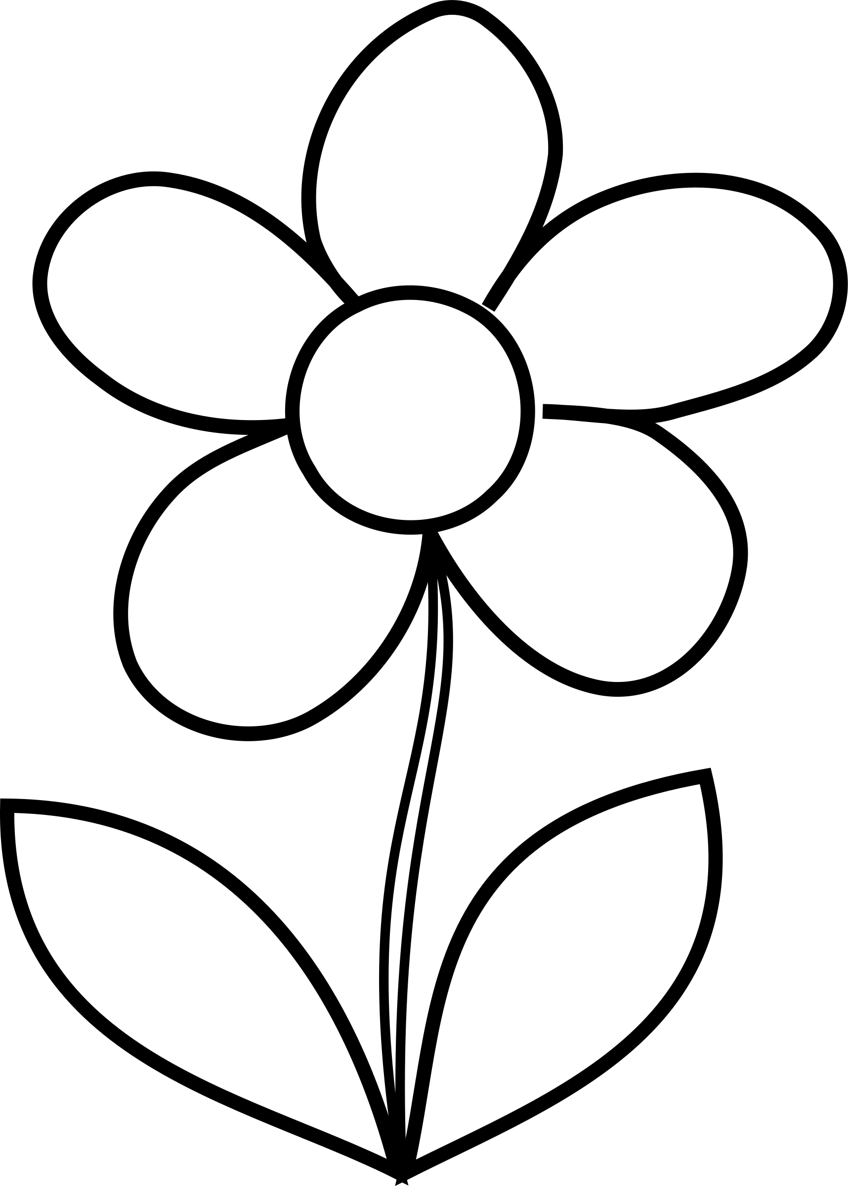 Simple Flower Bw By Malenki Simple Flower From Hakanl In Black And White To Be Colo Printable Flower Coloring Pages Flower Printable Printable Coloring Pages