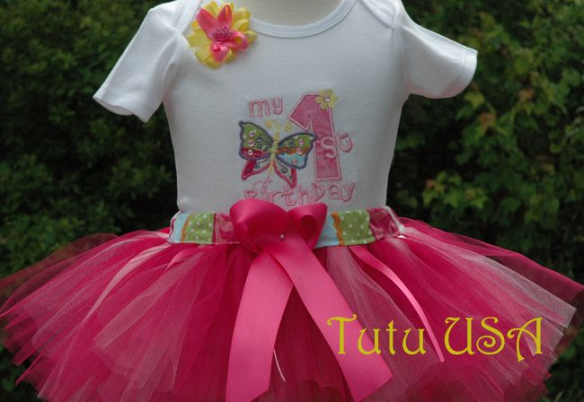Baby Girl 1st Birthday Butterfly Tutu Outfit