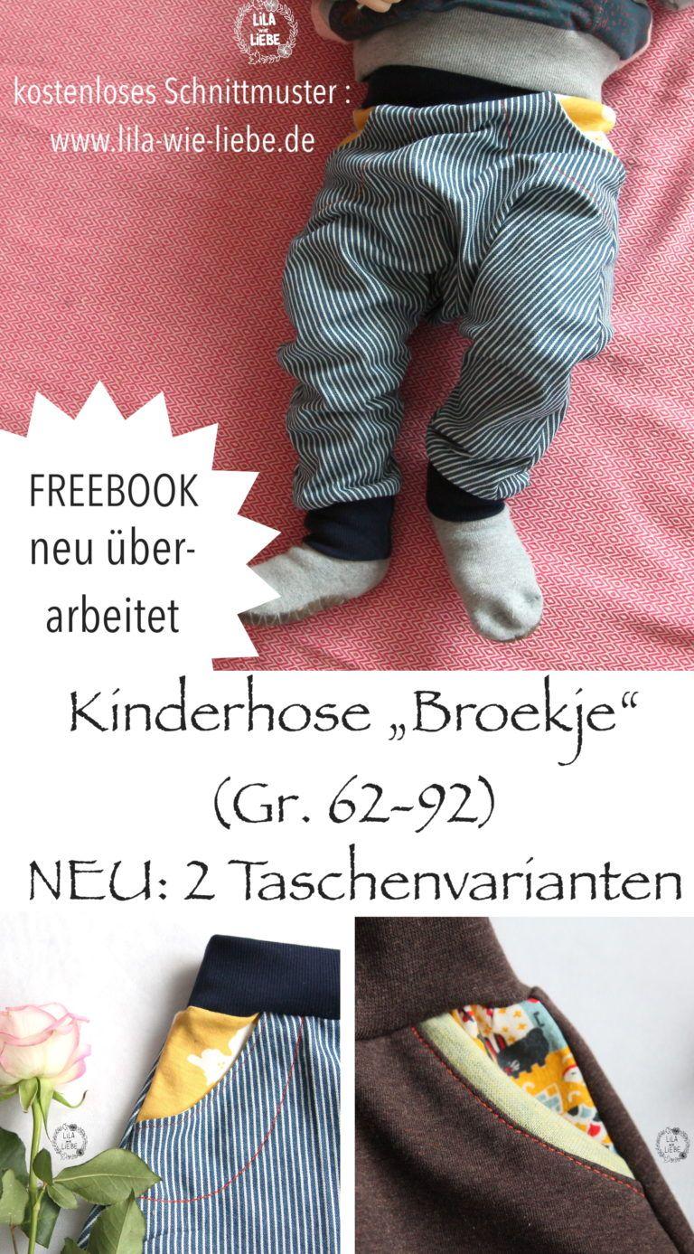 Broekje Kinderhose Freebook - 2 Varianten für Hosentaschen - Lila wie Liebe #babykidclothesandideas
