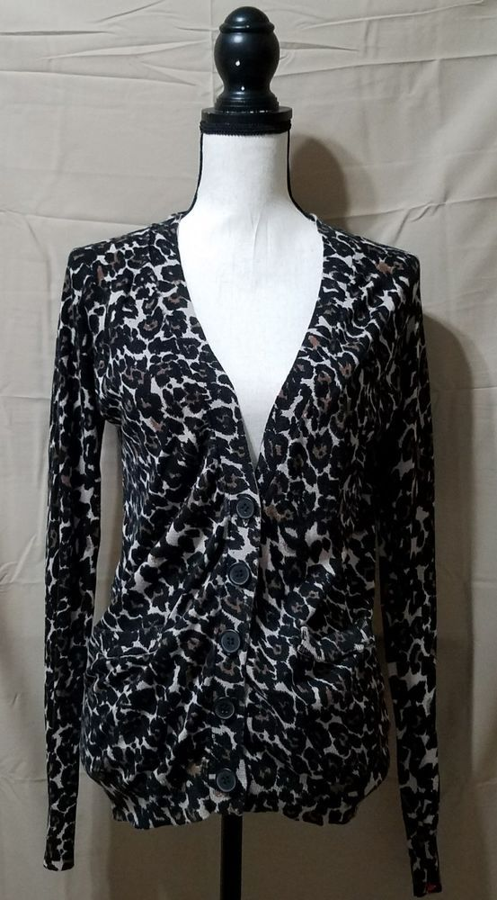 NOLLIE Leopard Print V-Neck Cardigan Sweater Womens M VGUC FREE ...