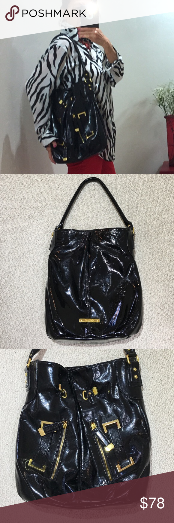 Miss Gustto Black Patent Leather Bag This Edgy Super Fun All Time Classic Is The Perfect Size With Multiple Pockets Inside And Zippered