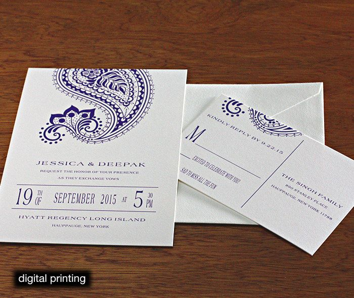 Regency letterpress or digital wedding invitations set ajalon hindu indian letterpress wedding card and stationery design gallery arti by invitations by ajalon stopboris Image collections