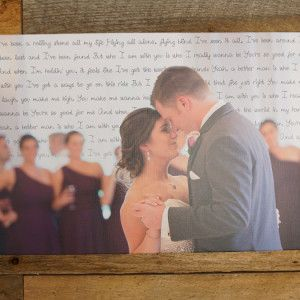 """Your Wedding Photo and First Dance Song Lyrics On A 16"""" x 24"""" Canvas"""