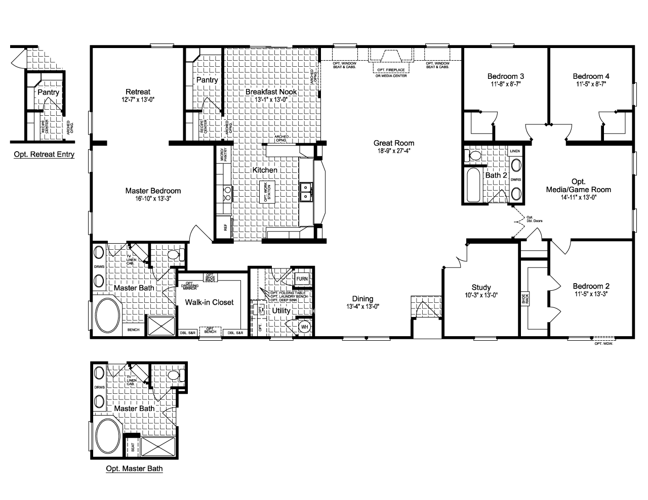 4 Bedroom Mobile Homes For Sale. Floor Plans Champion 381l And ...