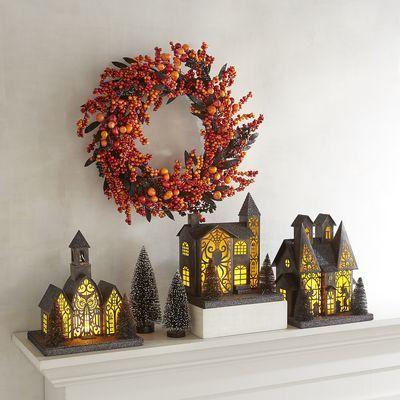 LED Light-Up Orange  Black Halloween Village Pier 1 Imports