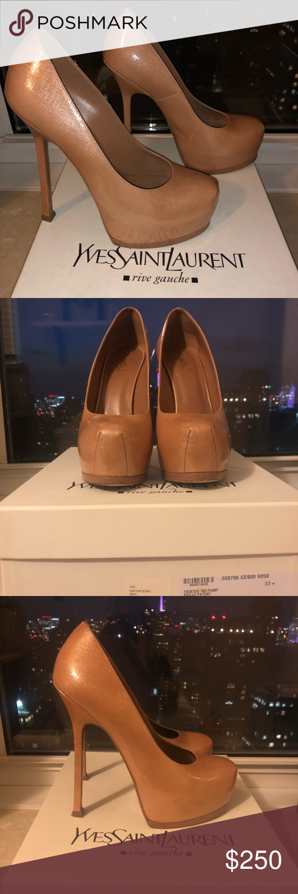 79fdc4f4a7b YSL Tribtoo patent platform 37.5 light blush HH Yves Saint Laurent Light  Clay Pink High Heel