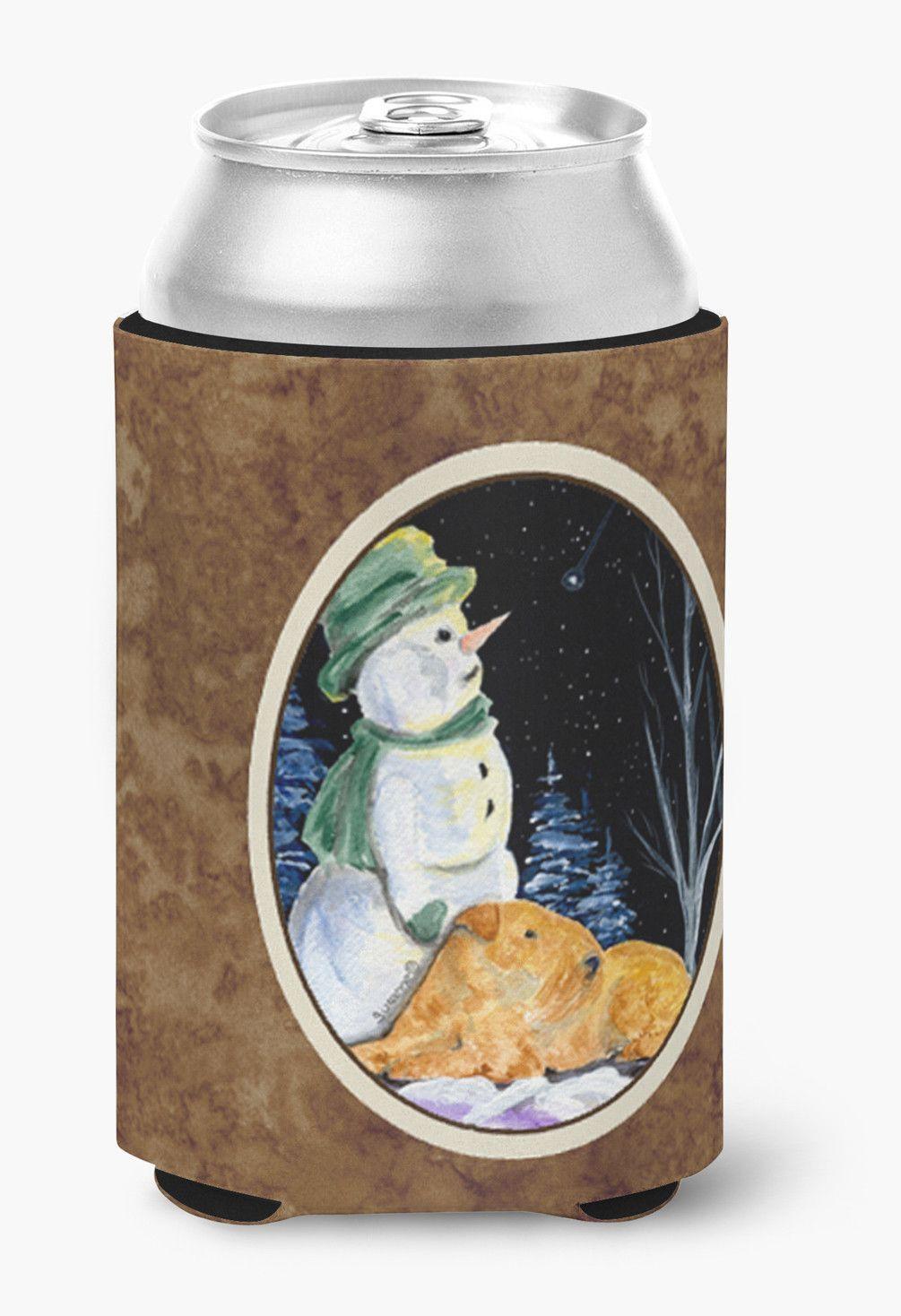 Snowman with Welsh Terrier Can or Bottle Beverage Insulator Hugger