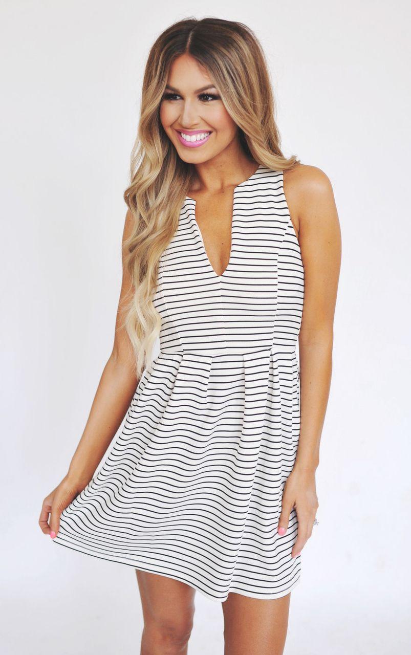 97e747562c3 Black/White Striped Fit & Flare Dress - Dottie Couture Boutique ...