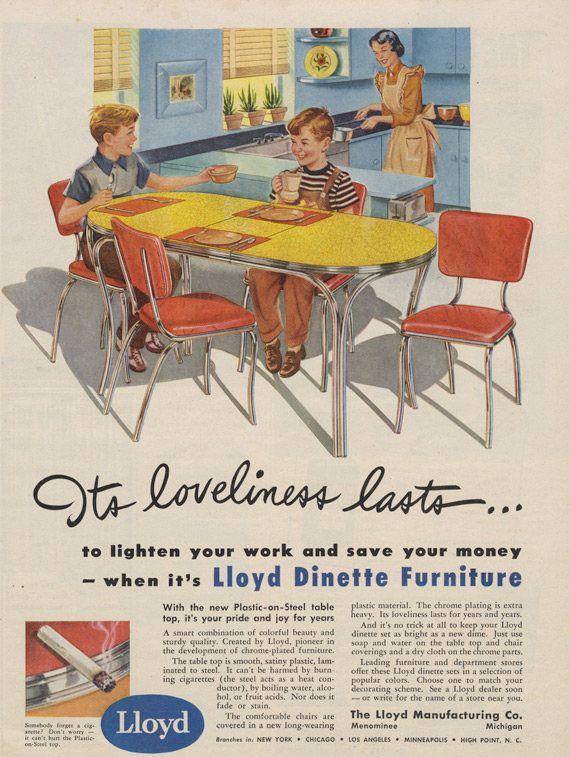 Super 1949 Lloyd Dinette Furniture Ad Plastic Steel Table Vintage Home Interior And Landscaping Sapresignezvosmurscom