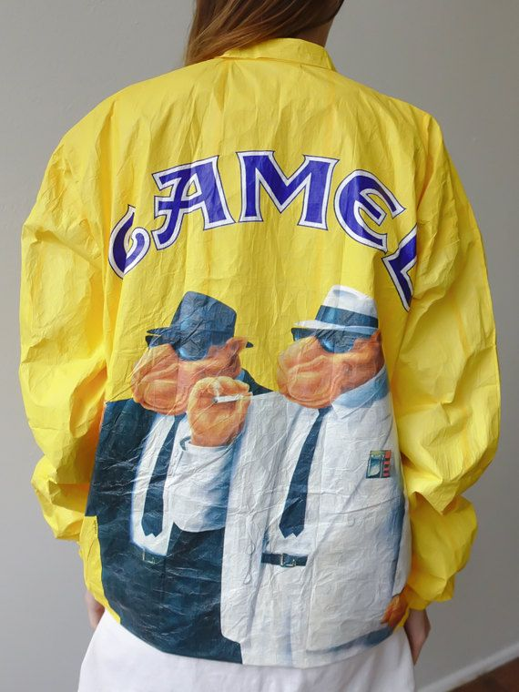 Vintage Tyvek Jacket Camel Cigarette Coat Windbreaker Grunge Yellow - Extra Large xl