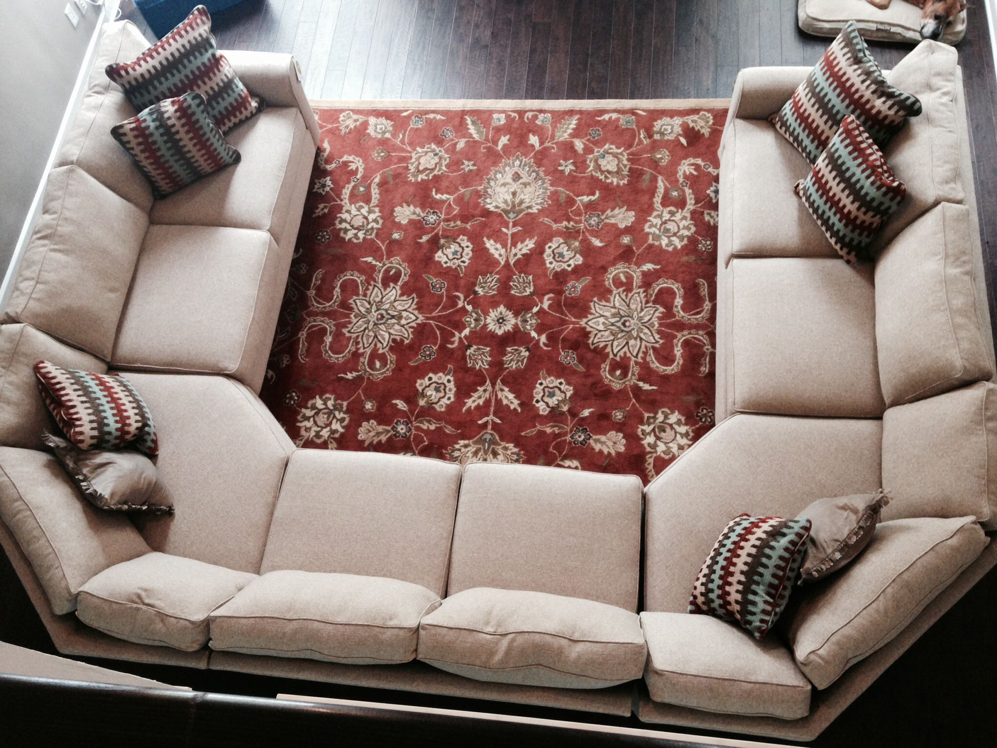 A Great Twist On A U Shape Sectional Via Gallery Furniture.