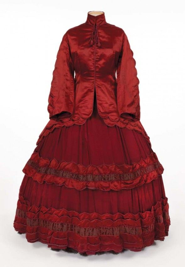 """""""Aunt March"""" burgundy period dress from Little Women. (RKO, 1933) Burgundy three-piece period gown with velvet and black lace accents."""