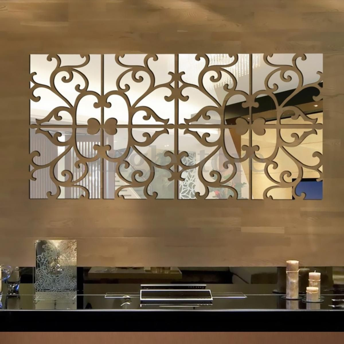 32pcs 3d vine mirror wall stickers art acrylic tile decal home