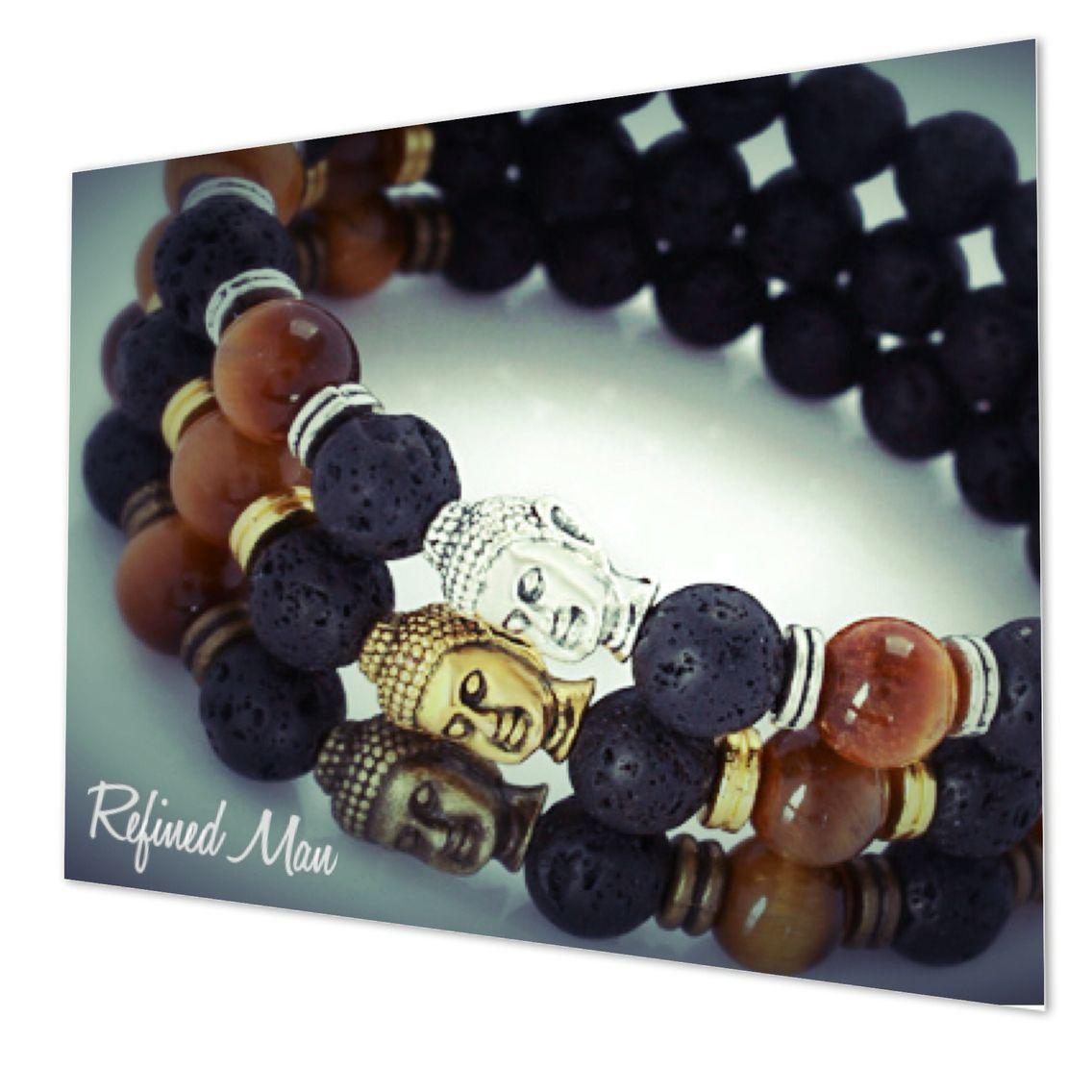 Buddha Bracelets. Lava stone and wood.