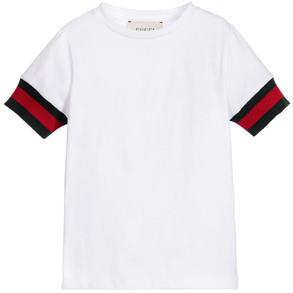 5a60c6e3c Boys White Cotton T-Shirt with Red & Green Trim, Gucci, Boy ...