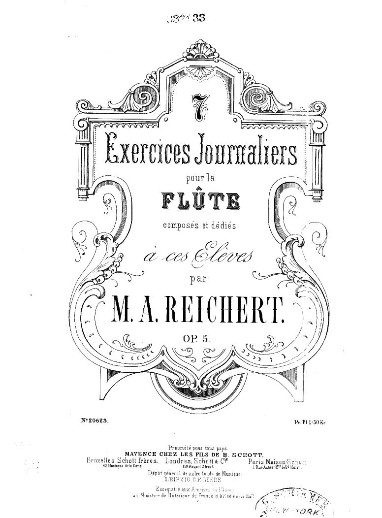 7 Exercices journaliers pour la flûte, Op 5 (Reichert, Matheus André