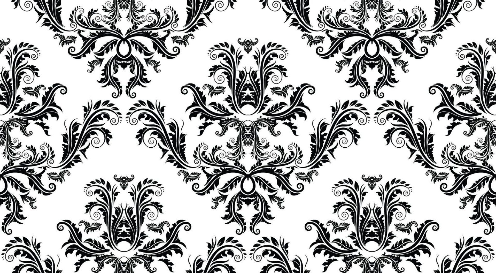Black and White Vintage Damask Pattern Wallpaper Free