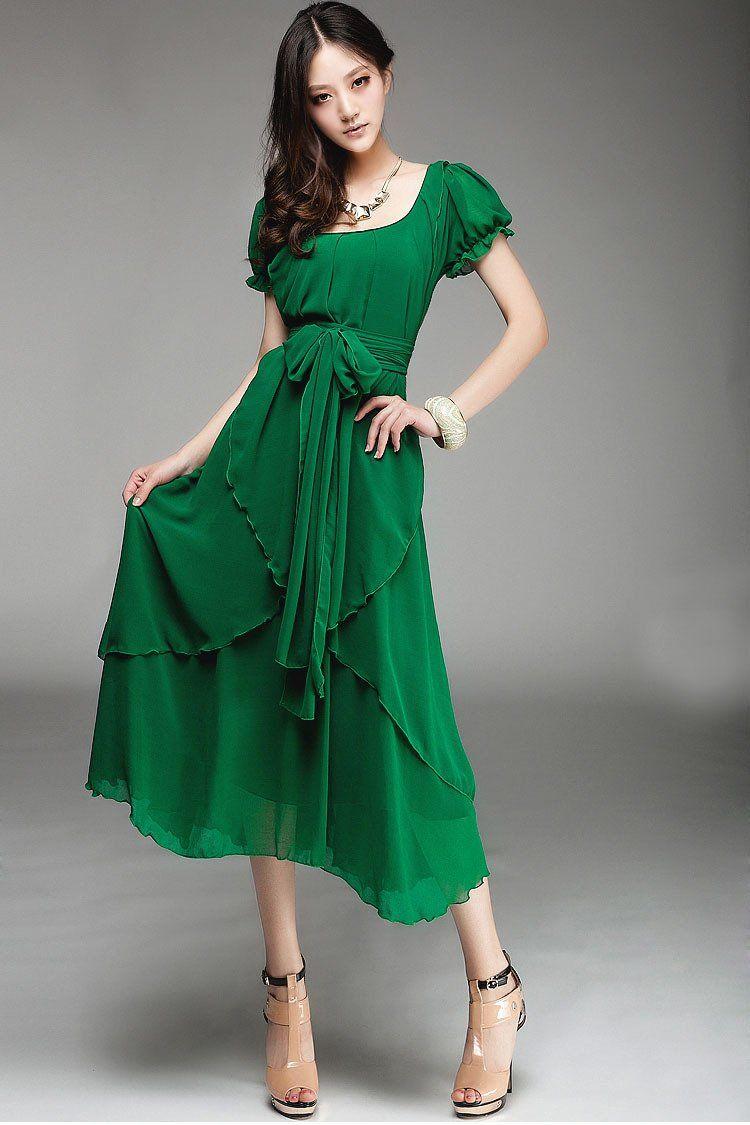 Wedding dresses for short women  Demarkt Womenus Asymmetric Short Sleeves Chiffon Long Dress Evening