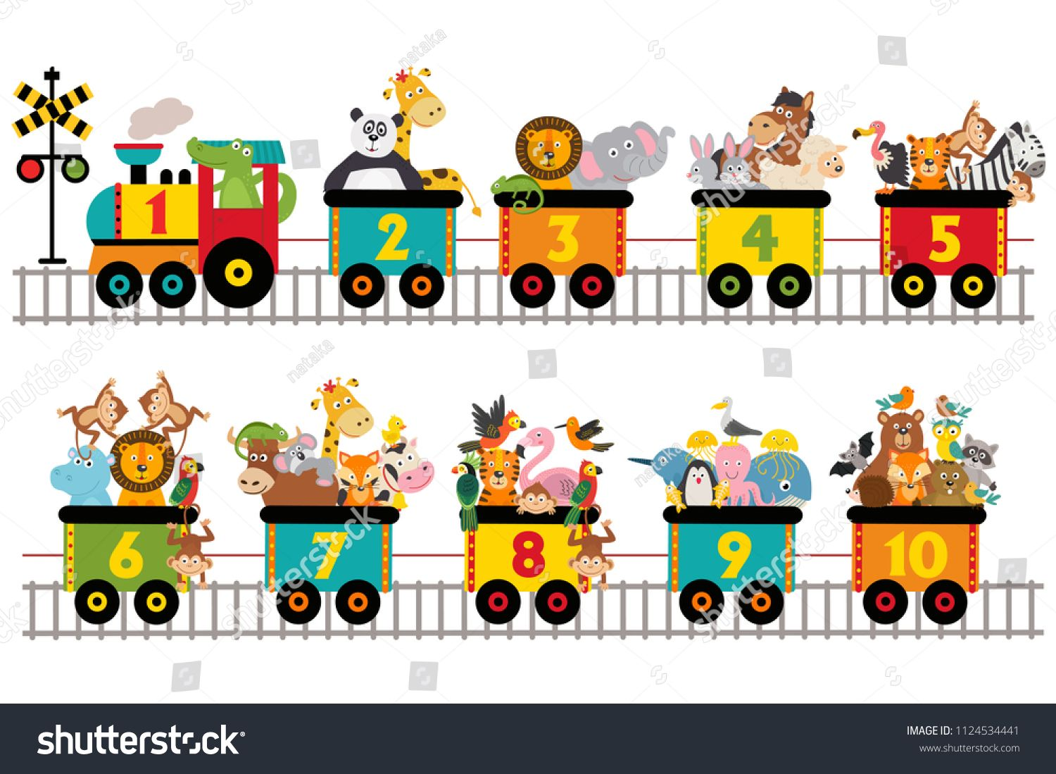 Funny Train With Number Of Animals