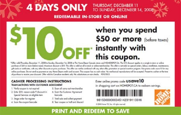 home depot in store coupons 10 off