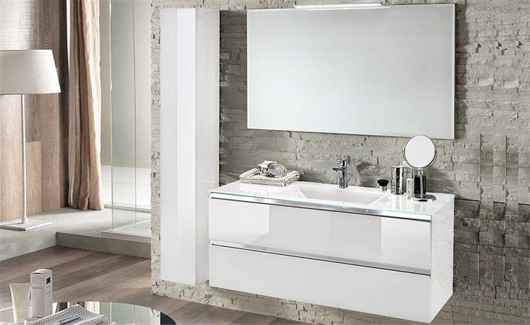 Led bagno ~ Componibili bagno di design con maniglie a gola cromate e lavabo