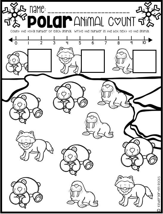 Polar Animal Math and Literacy Worksheets for Preschool ...