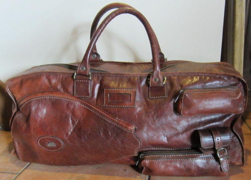 vintage leather tennis bag