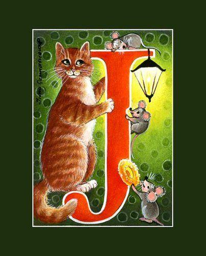 New Alphabet Cat ACEO Series Letter J by I Garmashova