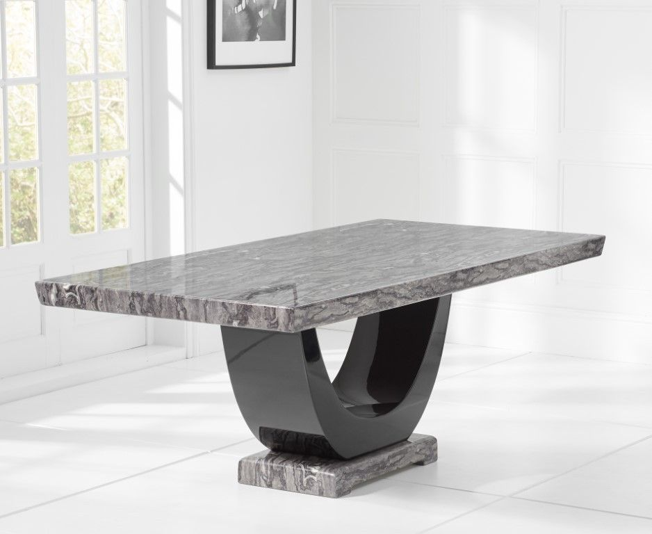Mark Harris Rivilino Dark Grey Marble Rectangular Dining Table 200cm Dining Table Marble Dining Table Marble Dining
