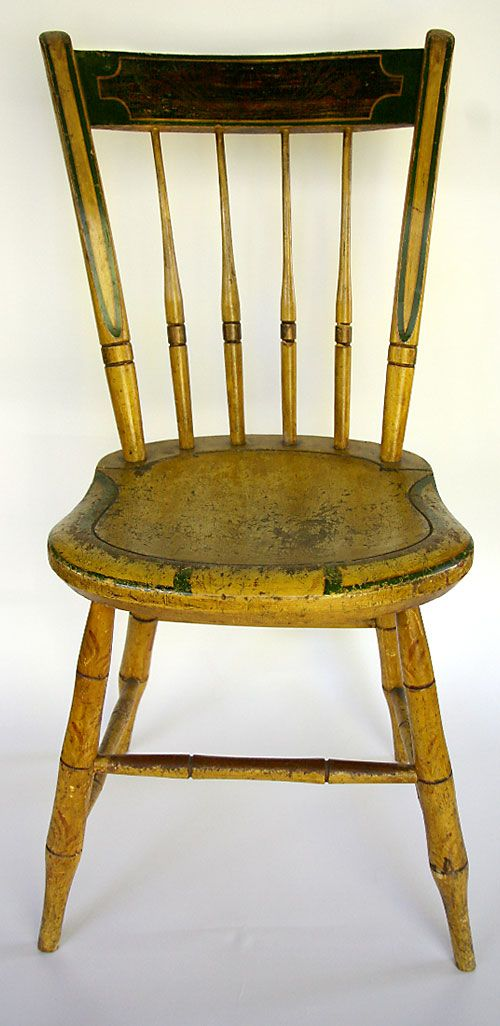 Signed Painted Antique Windsor Chair Stephen Kilburn, circa Massachusetts:  Stephen Kilburn was born in Massachusetts in the early where he learned the  trade ... - Signed Painted Mustard Windsor Chair: Stephen Kilburn, Circa 1810