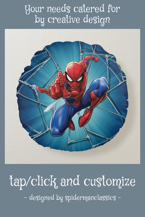 Spider Man Web Shooting Leap Round Pillow Zazzle Com Spiderman Round Pillow Spiderman Characters